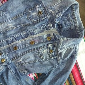 Guess jean distressed paint splats vintage jacket